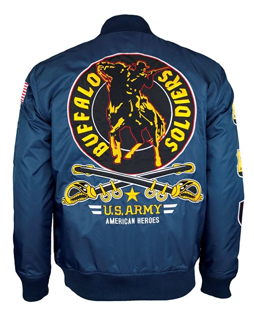 Buffalo Soldiers Mens Bomber Jacket Navy Blue