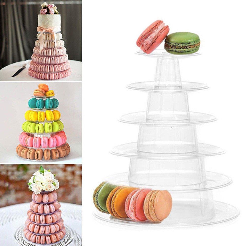 Greatstar 6 Tiers Round Macaron Tower Cake Stand Macaron Display Rack for Birthday Wedding