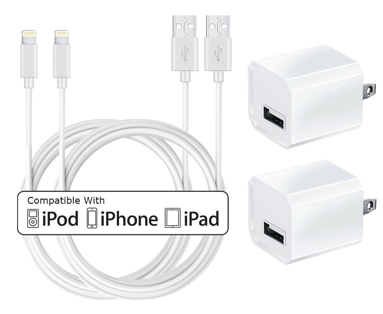 Charger, Certified TRICON 5W 1A USB Universal Portable Wall Power Adapter Mini Cube with 6 FEET/2M iPhone Charger Lightning to USB Charging Cable (2 Pack) White