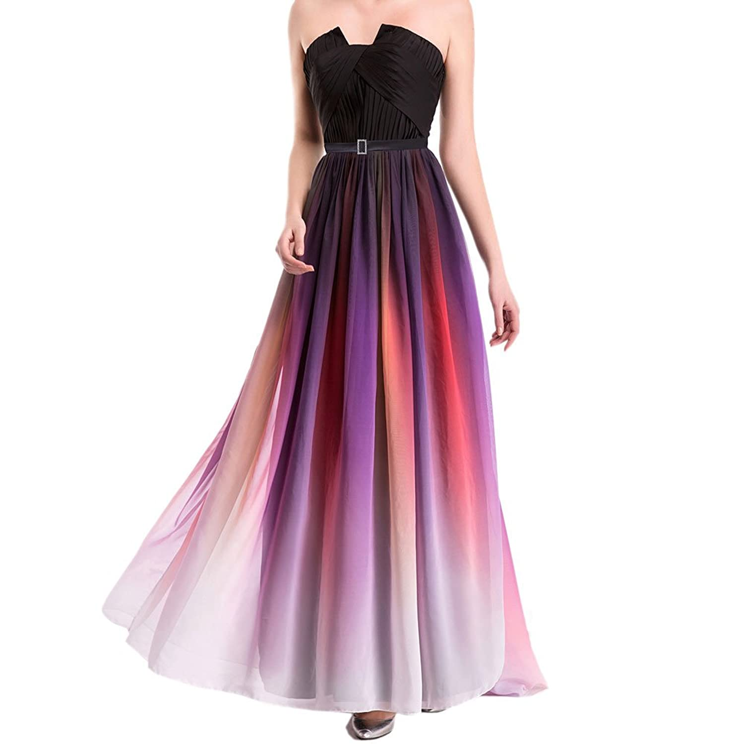 Najia Symbol Womens Formal Stralpess & Backless Color Gradient Prom Dresses