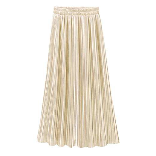 e0e4a5c21 NREALY Skirt Womens Vintage Casual High Waist Long Solid Fashion Daily Pleated  Skirt(one, Beige) at Amazon Women's Clothing store: