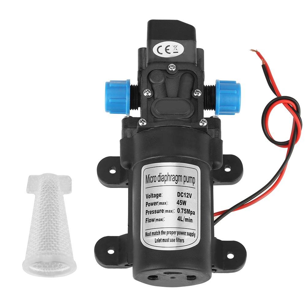 DC 12V 45W Mini Diaphragm Water Self Priming Pump Portable Low Noise 4L/min Flow Black with Filter Hilitand