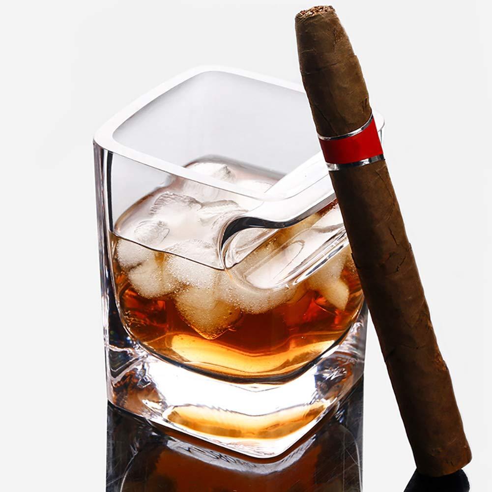NaiCasy Zigarre Glas Bier Wein Whiskey-Glas-Schalen-Flasche Mit Zigarre Groove Zahnstangen-Halter-Aschenbecher Multi-Funktions-Kaffee-Tee-Glasbecher