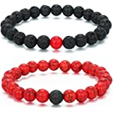 MengPa Mens Lava Rock Bracelet for Women Aromatherapy Anxiety Essential Oil Diffuser Volcanic Stone Bead Bangle
