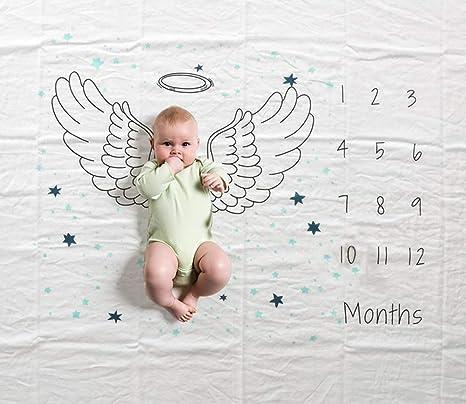 Manta mensual de hitos para bebés, 47 × 60 pulgadas Infantil Recién nacido Primer año Ala Fotografía Fotografía de telón de fondo Fotografía ...