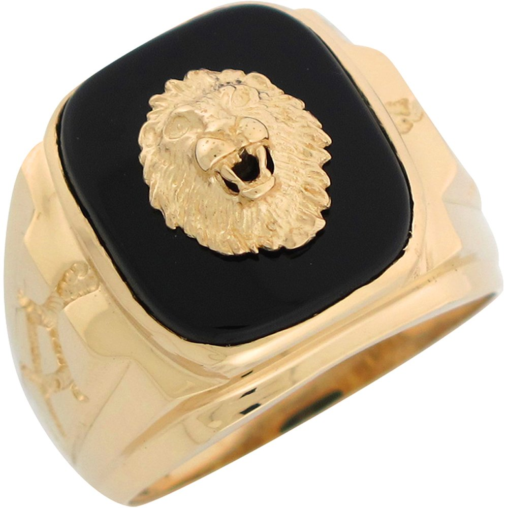10k Yellow Gold Onyx Regal Lion Head Mens Nugget Style Ring
