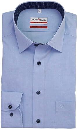 MARVELIS- Camisa de ajuste moderno - Azul estampado: Amazon ...