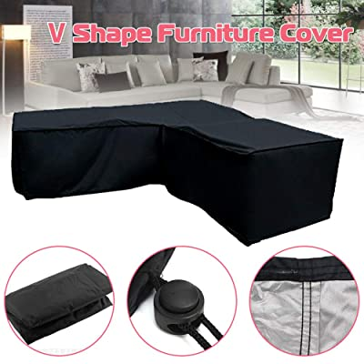 YOTHG V-Shaped Sectional Sofa Cover, Patio Sofa Cover, Outdoor Waterproof Sectional Furniture Cover, Garden Couch Protector (300x300x98cm) : Garden & Outdoor