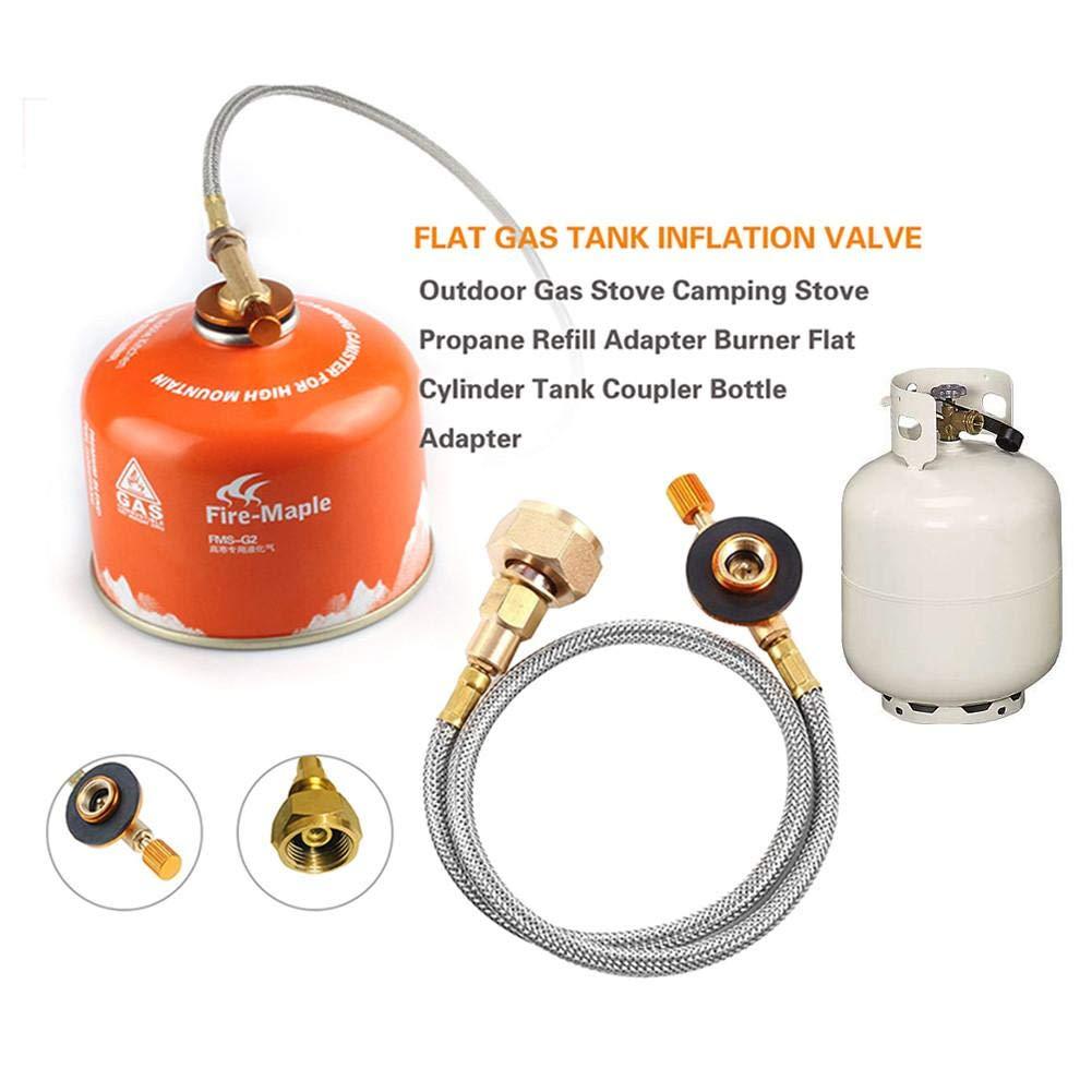 Sunneey Herd Adapter Brenner Flachzylinder Aufblasbare Ventil Tank Koppler Gas Refill Adapter Gas Tank Umbau Adapter mit Kupfer /& Nylon Rohr