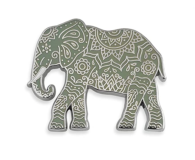4abac9fde Amazon.com: Pinsanity Henna Elephant Enamel Lapel Pin: Clothing