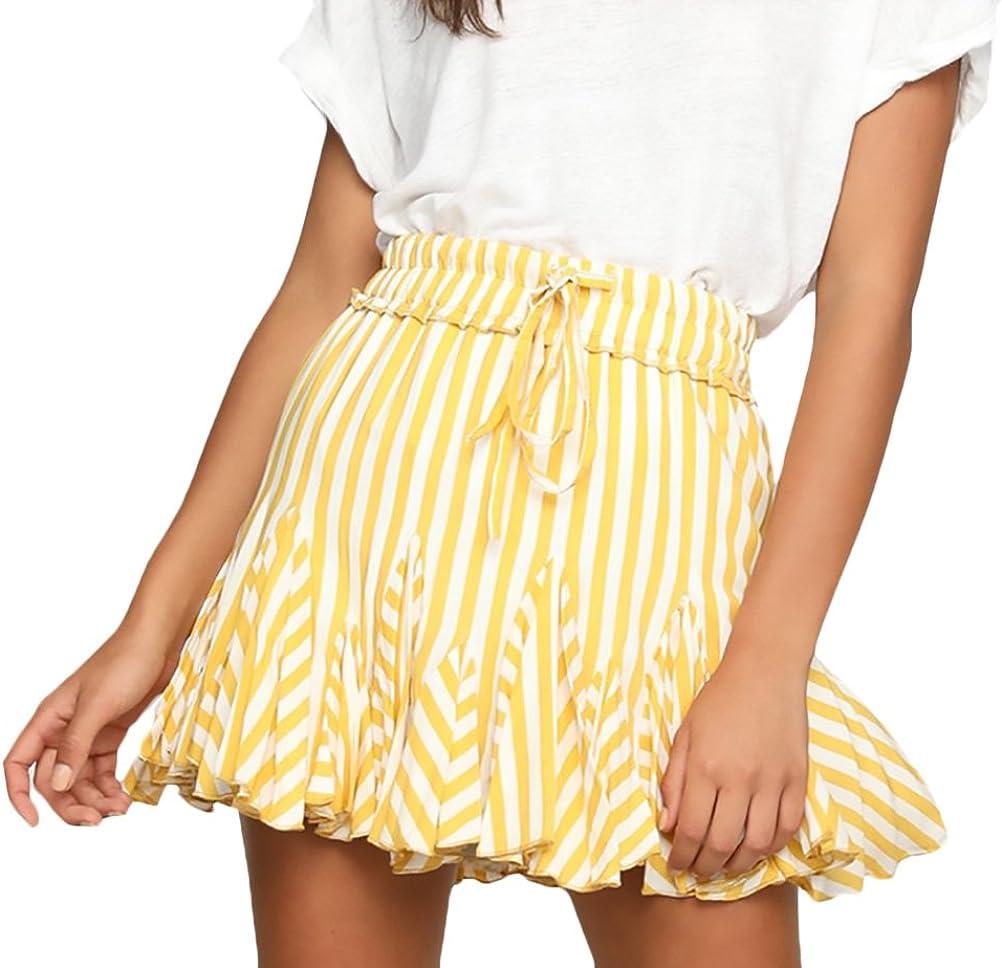 Faldas Mujer Elegante Verano Minifalda Corto Falda Rayas Moda ...
