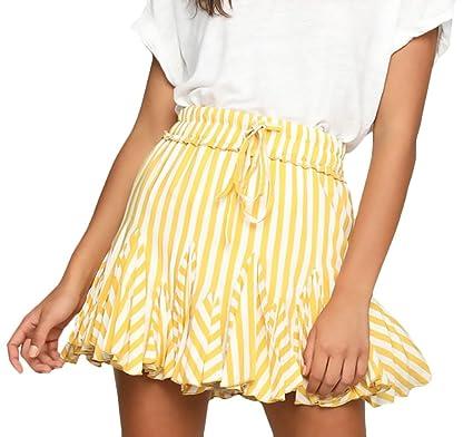 Faldas Mujer Elegante Verano Minifalda Moda Rayas Corto Retro ...