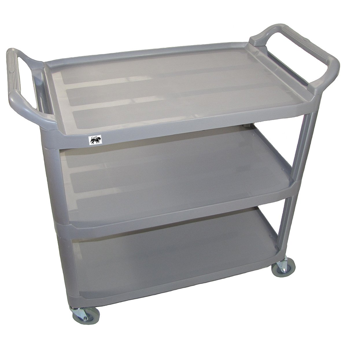 Crayata Serving and Bus Cart, Kitchen Food Service Utility Cart, 3 Tier Heavy Duty Plastic Beverage and Coffee Transport Cart for Restaurants, 400 Pound Capacity, Gray