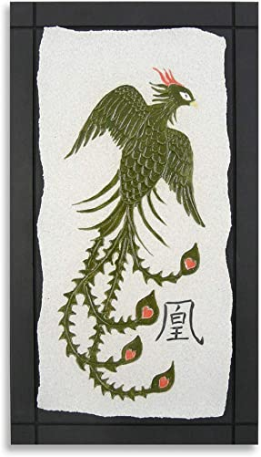 Chinese Phoenix Ceramic Stoneware Wall Sculpture