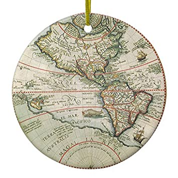 Amazon antique old world map of the americas 1597 ceramic antique old world map of the americas 1597 ceramic ornament circledesigned by valentine herty gumiabroncs Gallery