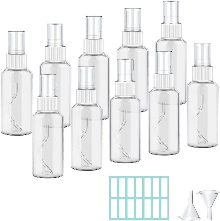Botella de Spray Vacía Plástico Transparente 50ML botes spray vacios Contenedor de Pulverizador Niebla Fina Atomizador de Viaje con Embudos Spray Pulverizador para Perfumes Agua Alcohol 10 Piezas