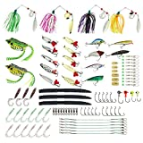 Cheap Kbnian 102pcs Fishing Lures Fishing Baits Tackle Set Including Plastic Worms Jig Crankbaits Spinnerbaits Frogs Soft Topwater Lures , and More Fishing Gear Lures Kit Set with Free Tackle Box
