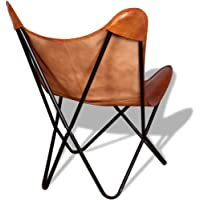 Tidyard Butterfly Chair Brown Real Leather 74 x 66 x 90 cm (W x D x H)