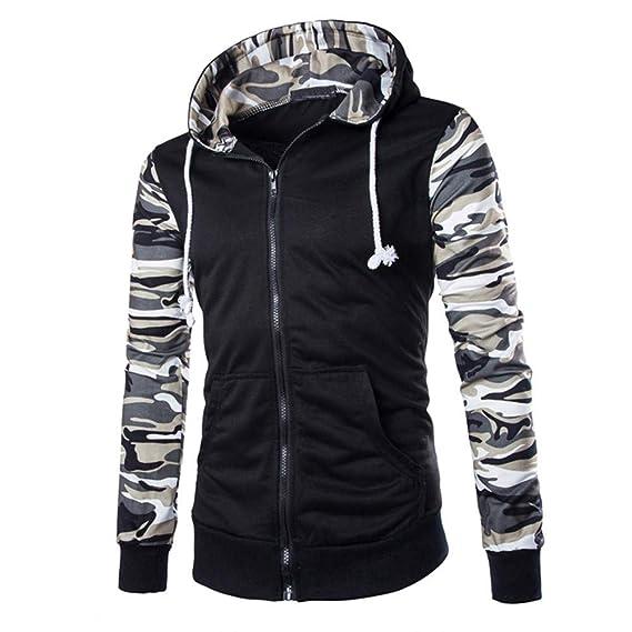 f6538b87eaca Zolimx Herren Sweatjacke Herbst Winter Casual Camouflage Hooded Patchwork  Reißverschluss Sweatshirt Kapuzenpulli Jacke Mantel  Amazon.de  Bekleidung