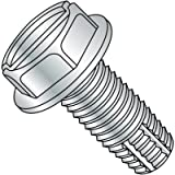 Steel Thread Cutting Screw, Zinc Plated Finish, Hex Washer Head, Slotted Drive, Type F, 3/8'-16 Thread Size, 1-1/2…