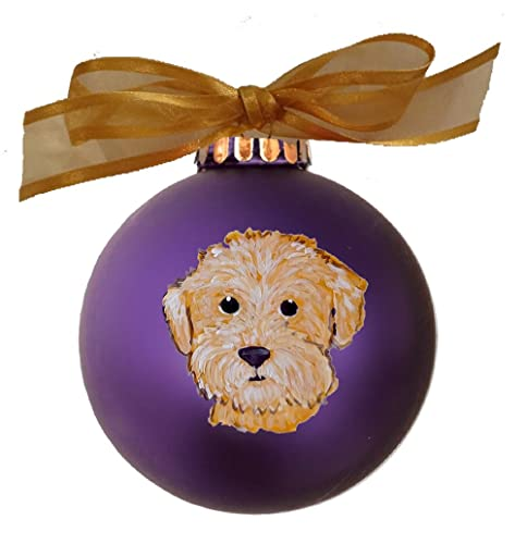 goldendoodle labradoodle face hand painted christmas ornament can be personalized with name