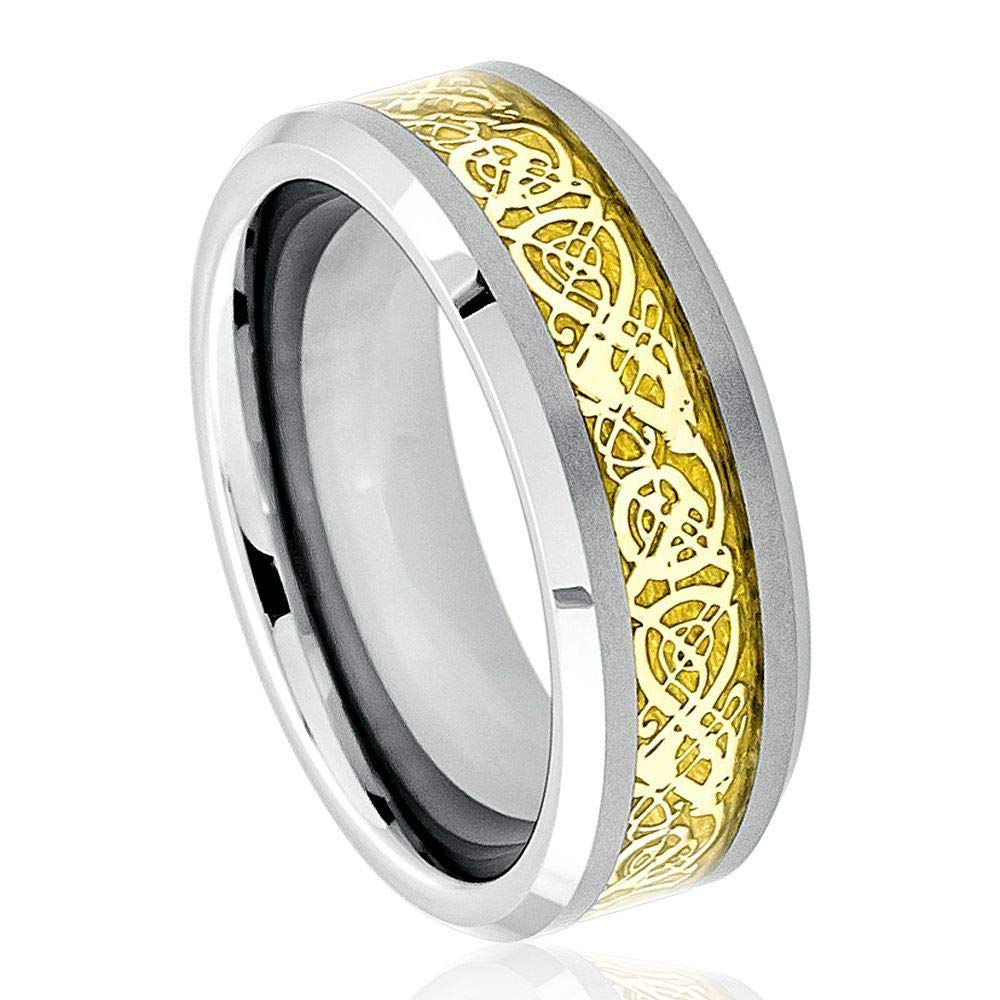 Beveled Edge Comfort Fit Tungsten Carbide Anniversary Ring TosowebOnline Mens 8mm Polished Finish with Gold Celtic Dragon Inlay
