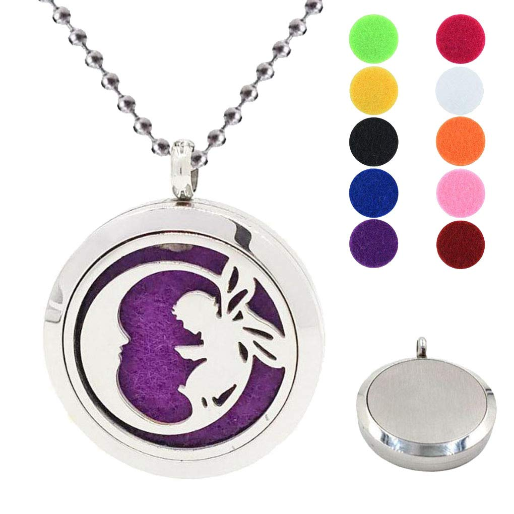 CliPons Women Girls Aromatherapy Essential Oil Diffuser Necklace Moon and Angle Baby Locket Pendant