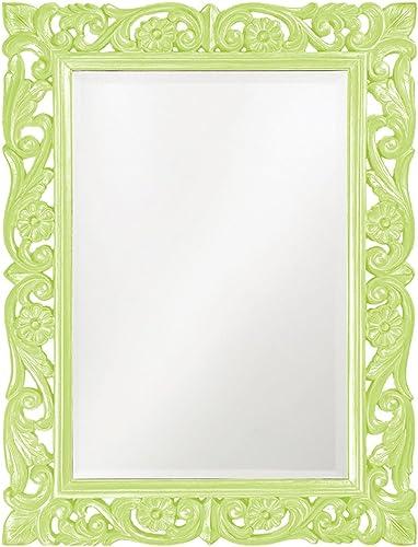 Howard Elliott Chateau Rectangular Hanging Wall Mirror, Scroll Work Frame, Green, 31.5 x 42 Inch