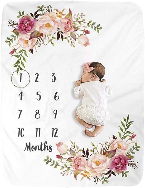 Ecisi Baby Monatliche Meilenstein Decke Premium Fleece Personalisierte Fotografie Hintergrund Decken Baby Monatliche Dusche Decke Für Neugeborene Baby Shower Geschenke Küche Haushalt