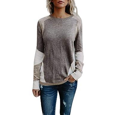 Innerternet Damen Pulli Langarm T Shirt Rundhals Ausschnitt