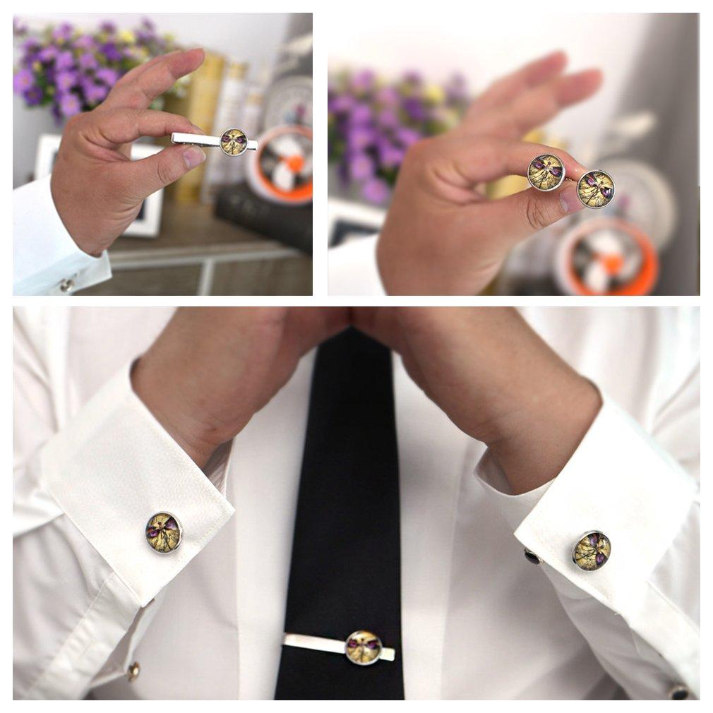 FOOG Skull Cufflinks Tie bar Human Gothic Skull and bones Jewelry Vicortian Skull Pirate Unique Suit Accessories Graduation Gifts