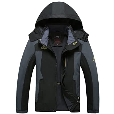 CUKKE Men's Hooded Softshell Insulated Rain Jacket Waterproof Fleece Lined Sportswear