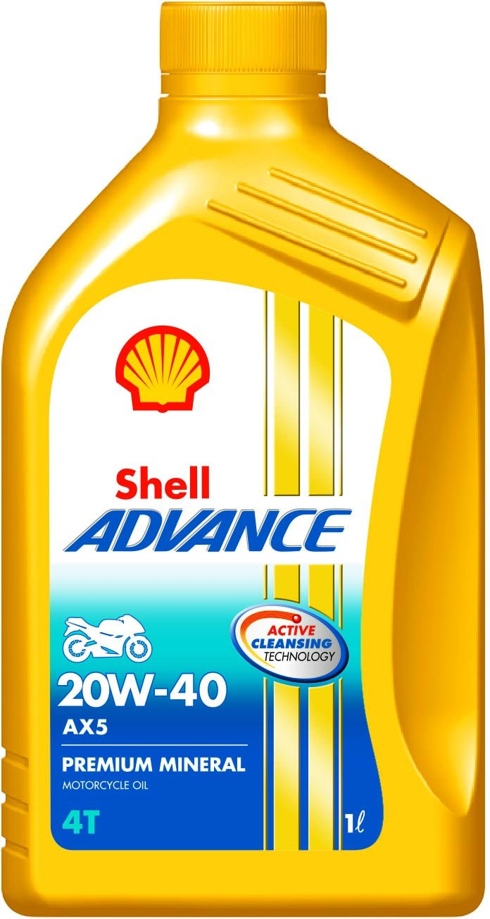 Shell Advance AX5 550031351 20W-40 API SL Premium Mineral Motorbike Engine Oil (1 L) product image
