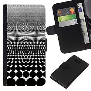 Planetar® Modelo colorido cuero carpeta tirón caso cubierta piel Holster Funda protección Para Samsung ALPHA / SM-G850 / S801 ( Optical Visual Illusion Pattern Black Spots )