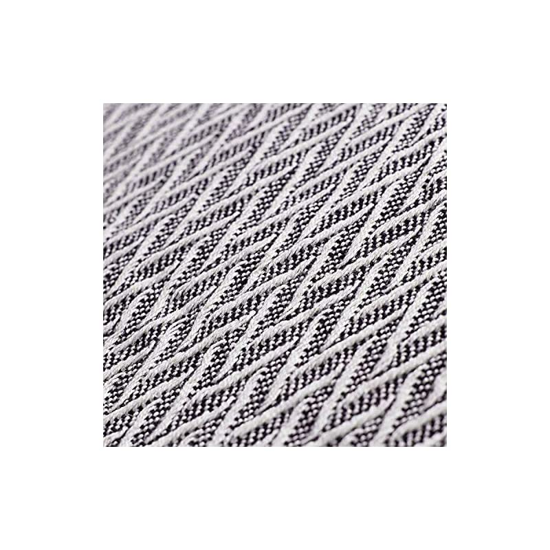 """Americanflat Nira Throw Blanket in Black and Cream Chevron - 100% Cotton with Fringe - 50"""" x 60"""""""