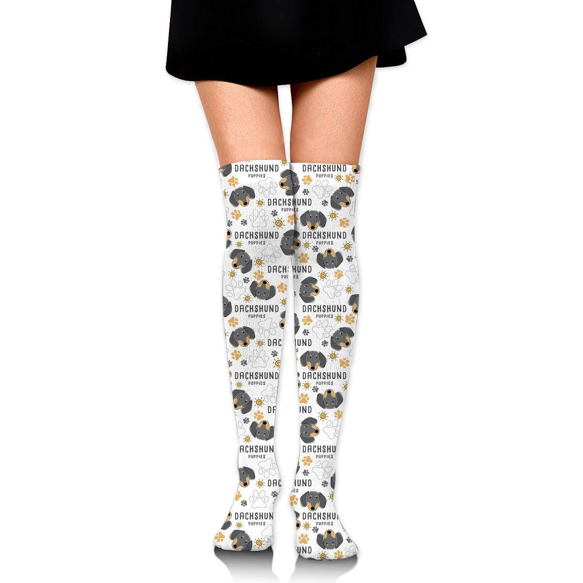 Womens/Girls Dachshund Puppies Casual Socks Yoga Socks Over ...