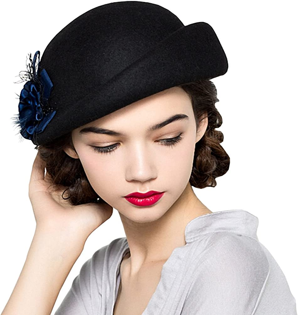 Maitose Women's Lace Flower Wool Beret Cap