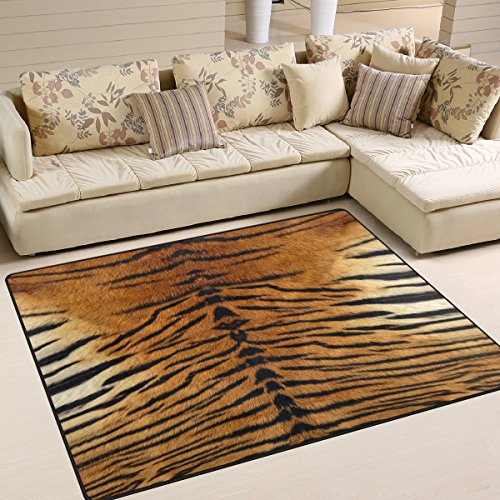 ALAZA Funny Tiger Print Area Rug Rugs for Living Room Bedroom 5'3 x 4'