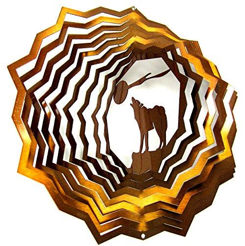 Shipityourway 3D Wind Spinner Copper Howling Wolf & Moon Powder Coated Metal Garden Twister + Swivel (12