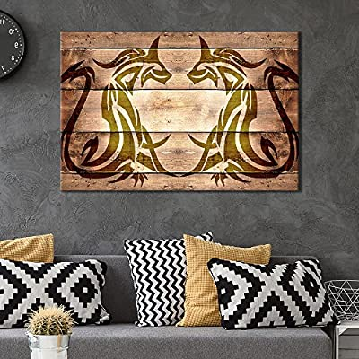 Canvas Wall Art - Beasts Pattern on Vintage Wood Background - Giclee Print Gallery Wrap Modern Home Art Ready to Hang - 12x18 inches