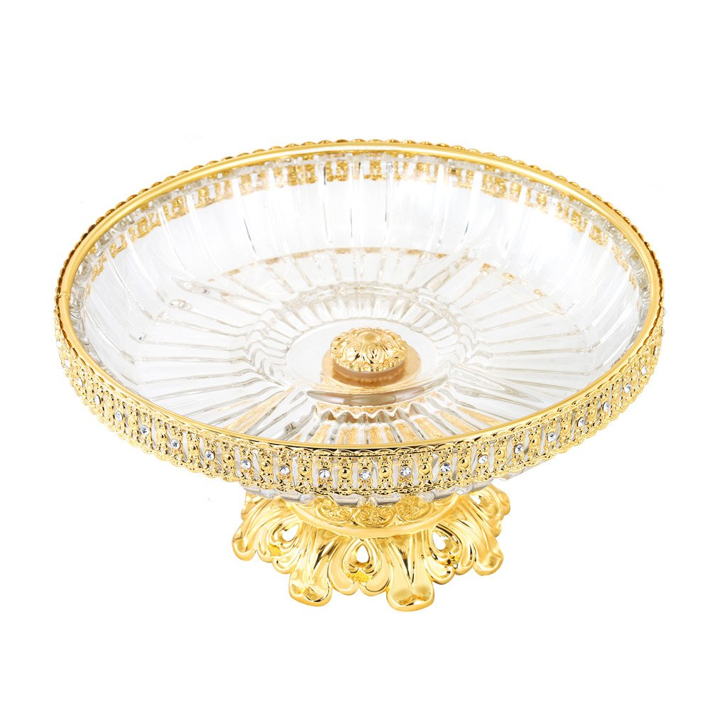 Crystal Compote Centerpiece, FANGZHIDI 10 Inches Round Decorative Bowl Plate Dish Serving Platter with Gold Pedestal Vase Base Weddings Parties Tabletop Stand for Cakes Desserts Fruits Salad Candy
