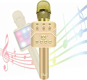 Microphone for Kids - I.LUX Wireless Karaoke Mic - Multi-Color LED Lights - Handheld Home Party Karaoke Speaker Machine for Android/iPhone/iPad/PC or All Smartphone