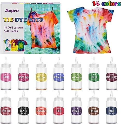 Anpro 160 unidades Tie Dye Kit, 14 colorantes × 100 ml ...
