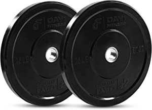 """Olympic Bumper Plate 2"""" – 5 Weight (10 to 45lbs) and Bundle Options - by D1F- Weighted Plates for Barbells, Bars - Shock-Absorbing, Minimal Bounce for Lifting, Strength Training - Singles or Pairs"""
