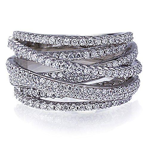 Lavish Rhodium Plated Sterling Silver Intertwined Design CZ Right Hand Ring 13.5mm, 10 ()