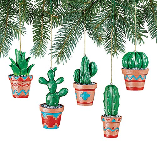 Collections Etc Southwestern Cactus Ornaments Set - Detailed Aztec Pottery Designs, 5 Pc -