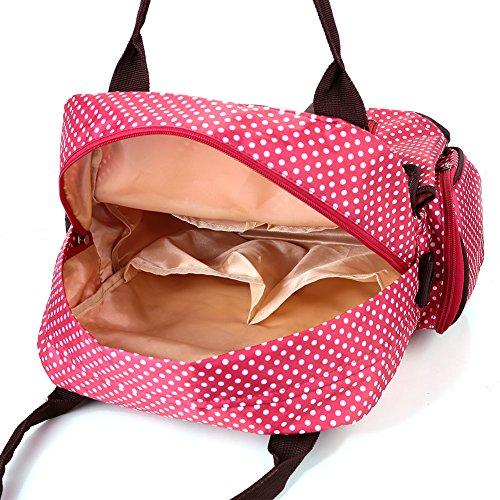 Zicac Dot Impreso multifuncional gran capacidad impermeable bolsa de pañales Cambiar Pañales Bebé bolsas de asa superior bolso bandolera de nailon momia mochila bolsa de hombro con correas ajustables  rosso