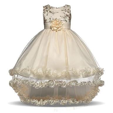 Amazon.com: Tiered Fancy Dress Floral Shining Flower Girl Dresses ...