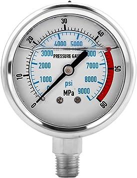 Hydraulic Pressure Gauge Base Entry Gauge Hydraulic Pressure Gauge Psi Gauge 60MPA//9000PSI for Home Hydraulic Gauge
