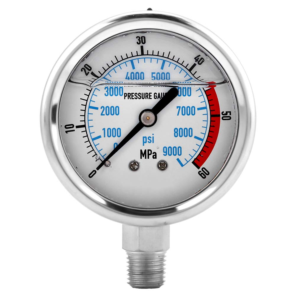 Hydraulic Pressure Gauge, 60MPA/9000PSI Base Entry NPT1/4 Pressure Gauge by Simlug